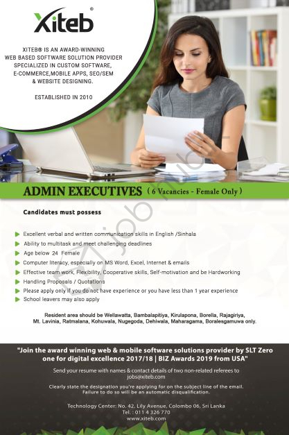 Job Vacancy for Admin Executive in Colombo 06