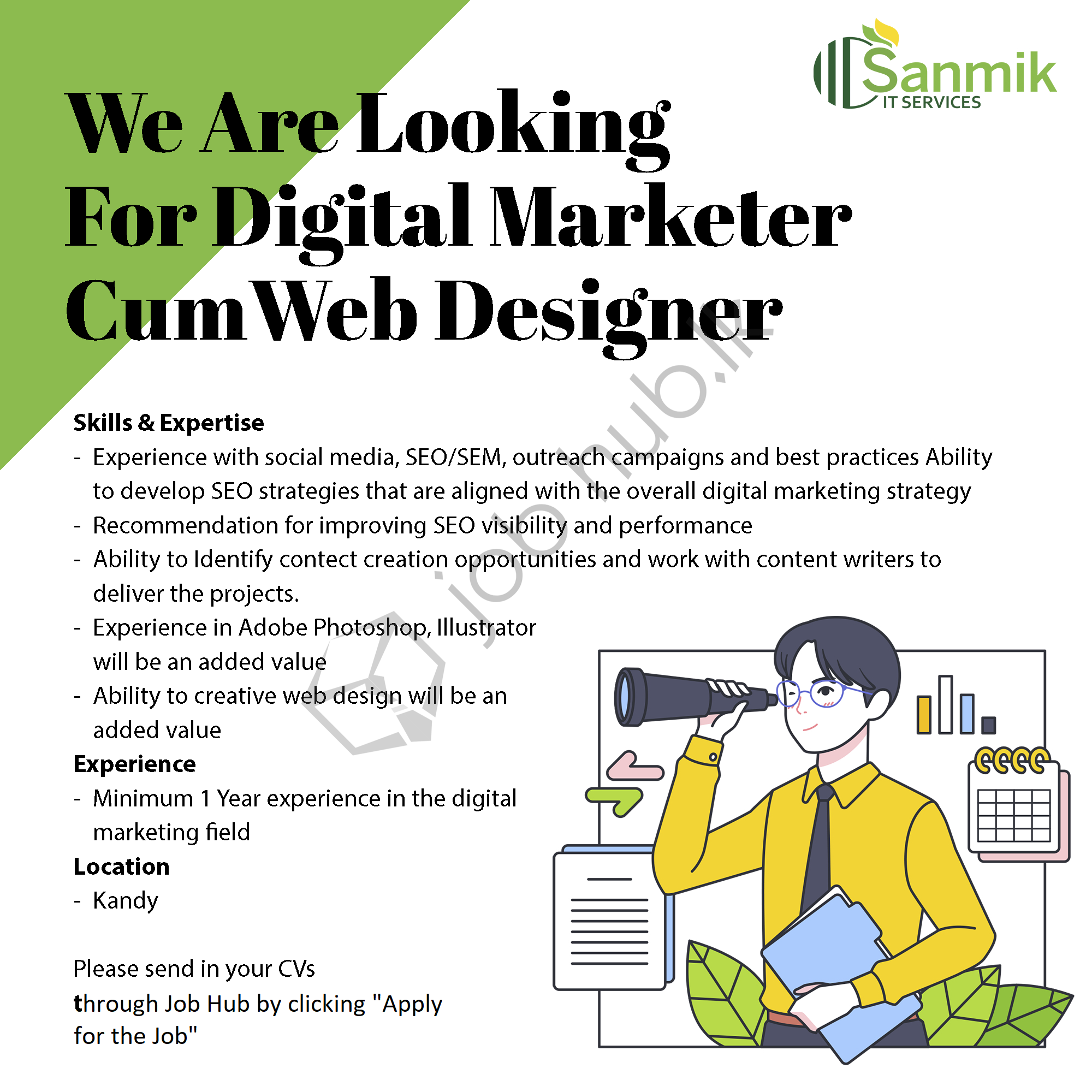 Job Vacancy for Digital Marketer and Web Designer in Kandy