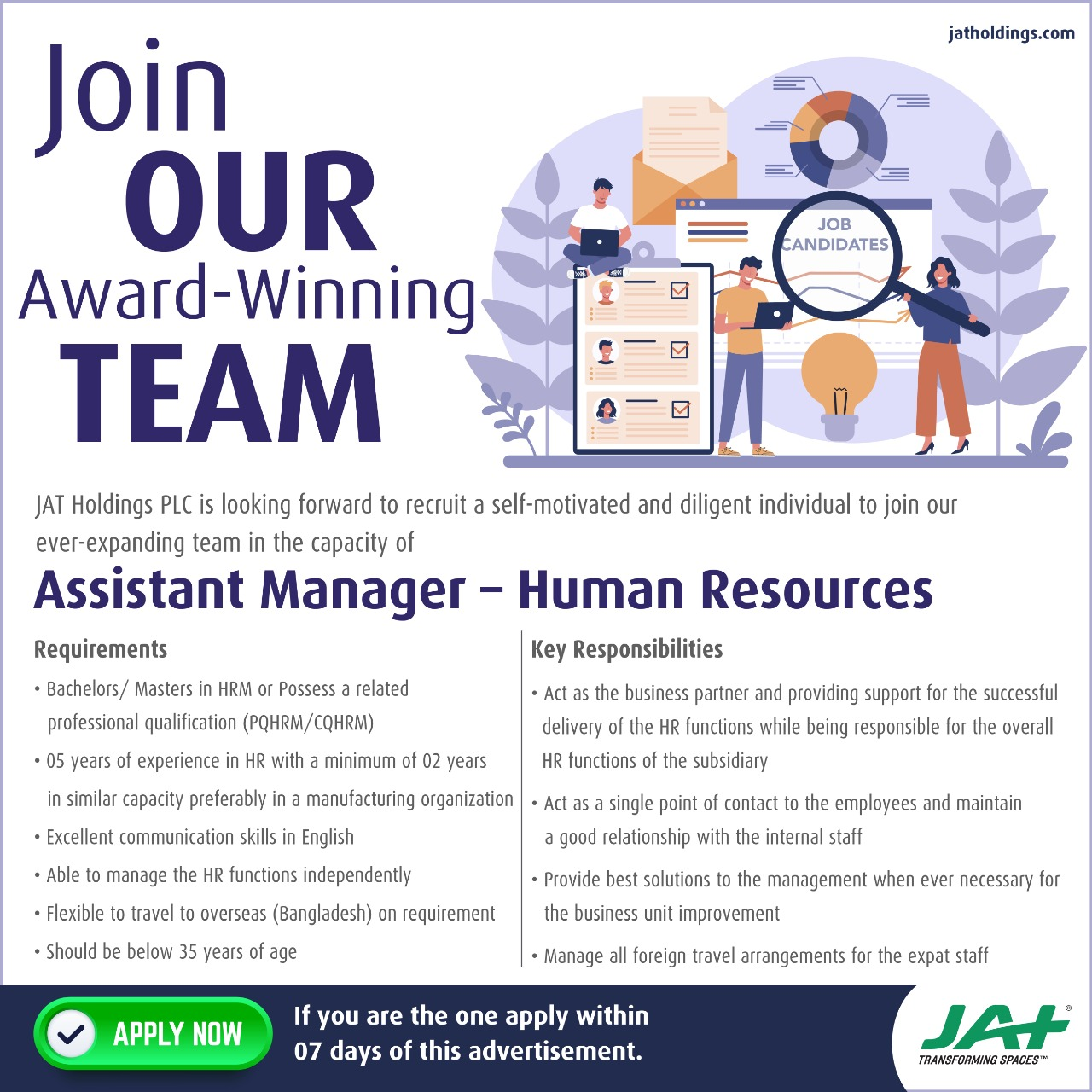 Assistant Manager - Human Resources Job Vacancy in Thalawathugoda
