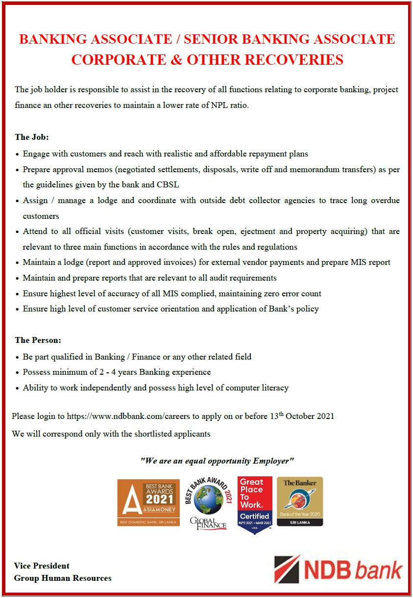 BA SBA - Corporate and other recoveries Job Vacancy in Colombo 02
